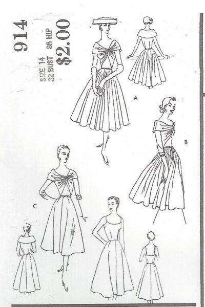 1956-Vintage-VOGUE-Sewing-Pattern-DRESS-B32-R497-251142509467-2