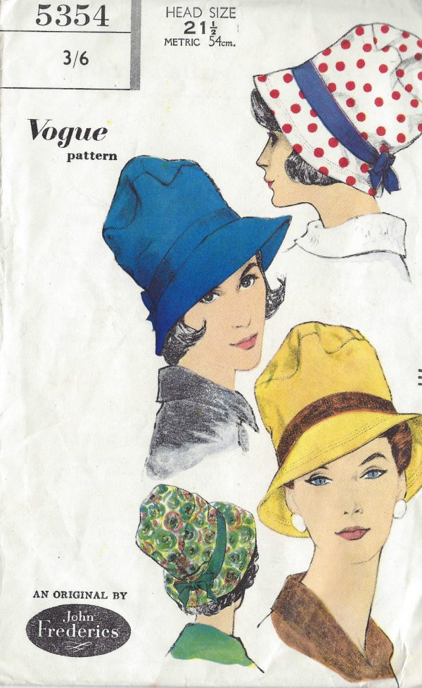 1960s-Vintage-VOGUE-Sewing-Pattern-SIZE21-12-HAT-1196-By-John-Frederics-261448549927