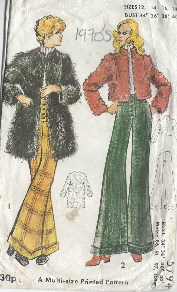 1970s-Vintage-Sewing-Pattern-B34-36-38-40-PANTS-COAT-R699-251181624627