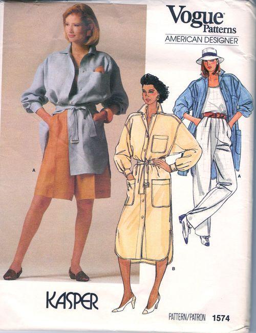 1985-Vintage-VOGUE-Sewing-Pattern-B36-TOP-SHIRT-PANTS-SHORTS-DRESS-1714-KASPER-262559808377