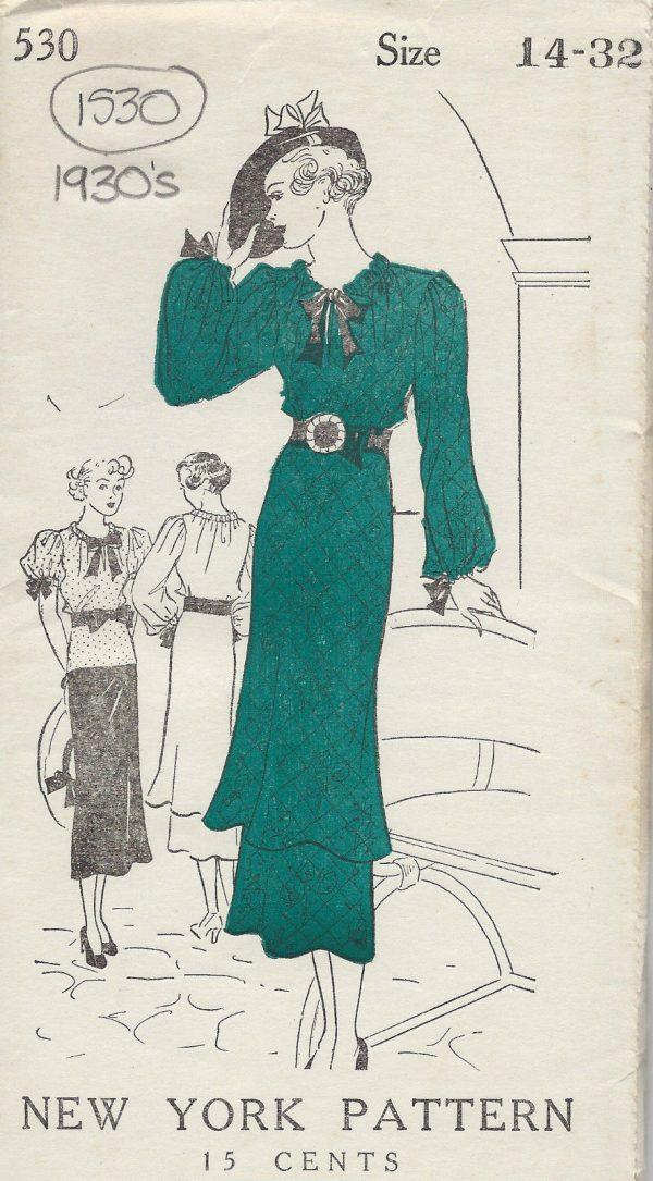 1930s-Vintage-Sewing-Pattern-B32-DRESS-TUNIC-BLOUSE-1530-262080974138