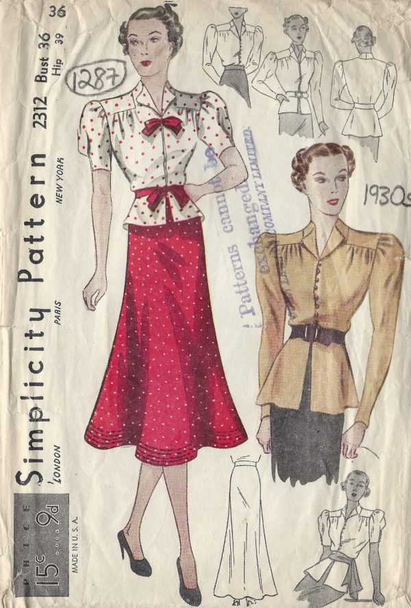 1930s-Vintage-Sewing-Pattern-B36-W30-SKIRT-BLOUSE-1287-261510016088