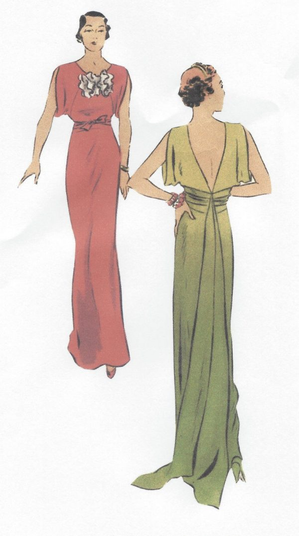 1930s-Vintage-VOGUE-Sewing-Pattern-B34-EVENING-DRESS-with-TRAIN-R953-262598382148-2