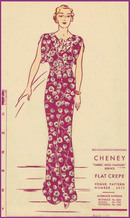 1930s-Vintage-VOGUE-Sewing-Pattern-B34-EVENING-DRESS-with-TRAIN-R953-262598382148