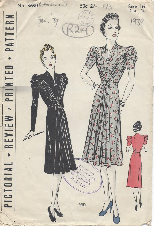 1939-Vintage-Sewing-Pattern-B34-DRESS-R219-251154316888