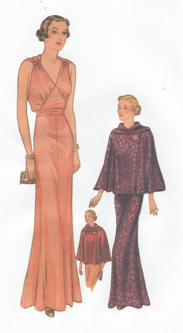 1939-Vintage-Sewing-Pattern-B36-CAPE-EVENING-DRESS-R958-251264239168