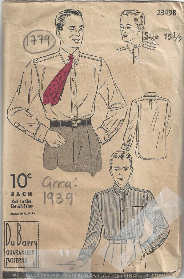 1939-Vintage-Sewing-Pattern-Size15-12-Chest-40-MENS-SHIRT-1779-262797135598