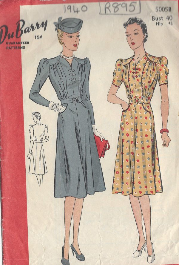 1940-Vintage-Sewing-Pattern-B40-DRESS-R895-By-Du-Barry-251234841648