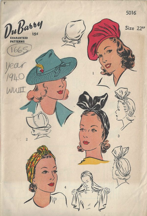1940-WW2-Vintage-Sewing-Pattern-S22-HAT-BERET-TURBAN-1665-252407094318