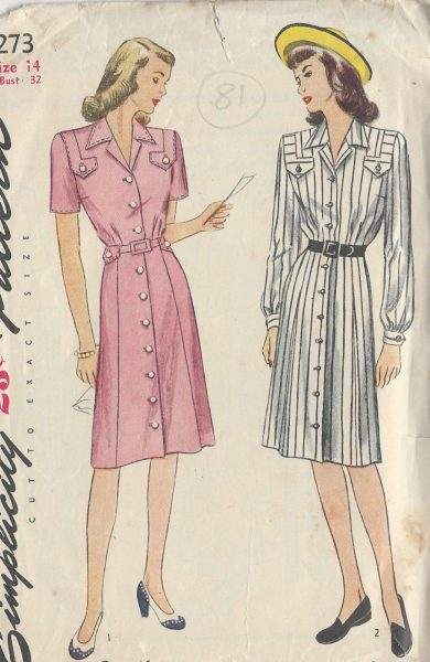 1940s-Vintage-Sewing-Pattern-B32-DRESS-81-251173668638