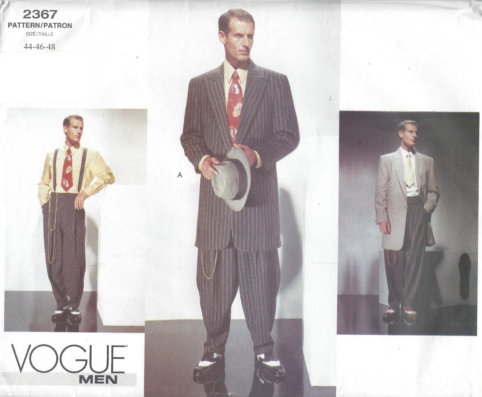 1940s Vintage VOGUE Sewing Pattern Chest 44-46-48 MEN\'S ZOOT SUIT ...