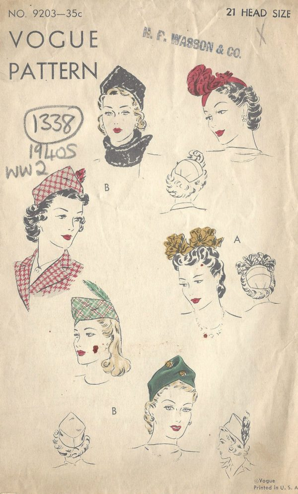 1940s-WW2-Vintage-VOGUE-Sewing-Pattern-S21-HATS-1358-261672039348