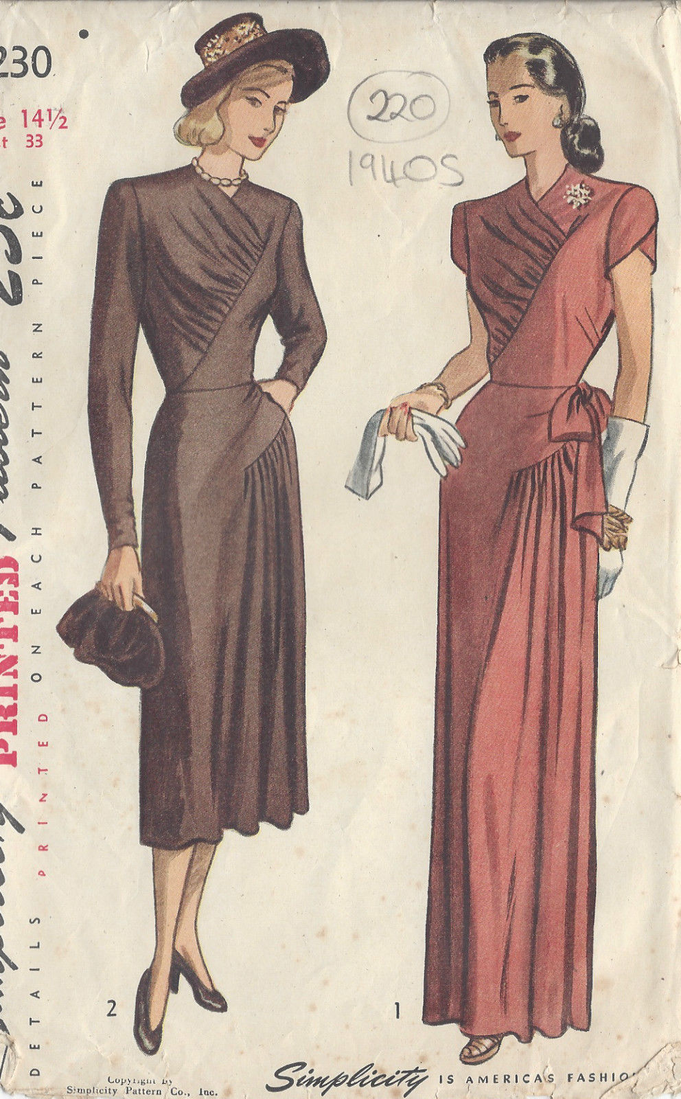 "220 1947 Vintage Sewing Pattern DRESS B33/"""
