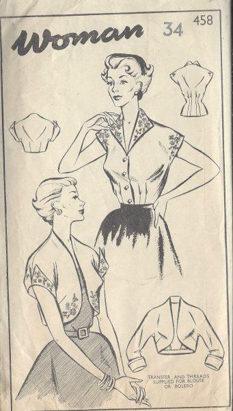 1950s-Vintage-Sewing-Pattern-B34-BLOUSE-BOLERO-EMROIDERY-TRANSFER-R741-251175087258