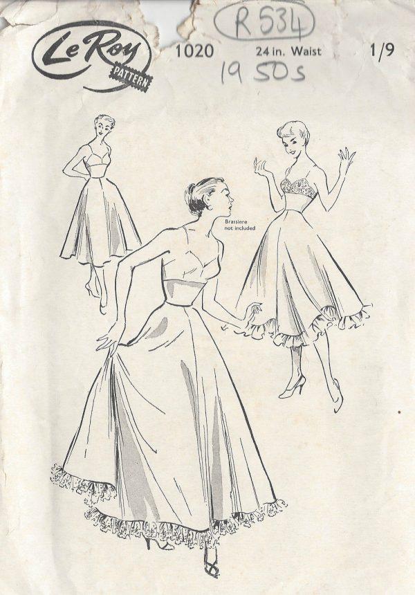 1950s-Vintage-Sewing-Pattern-PETTICOAT-W24-R534-251151035338