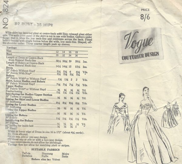 1954-Vintage-VOGUE-Sewing-Pattern-B32-DRESS-EVENING-GOWN-BOLERO-JACKET-1365-262559240578-2