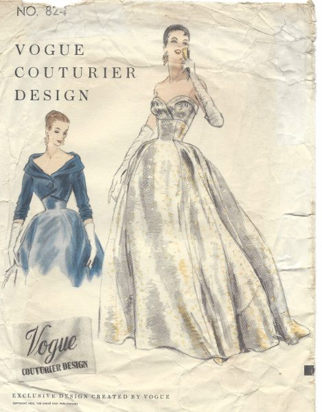 1954-Vintage-VOGUE-Sewing-Pattern-B32-DRESS-EVENING-GOWN-BOLERO-JACKET-1365-262559240578