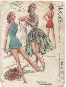 1956-Vintage-Sewing-Pattern-B30-HALTERNECK-BATHING-SUIT-SKIRT-PLAYSUIT-RR947-252629935138
