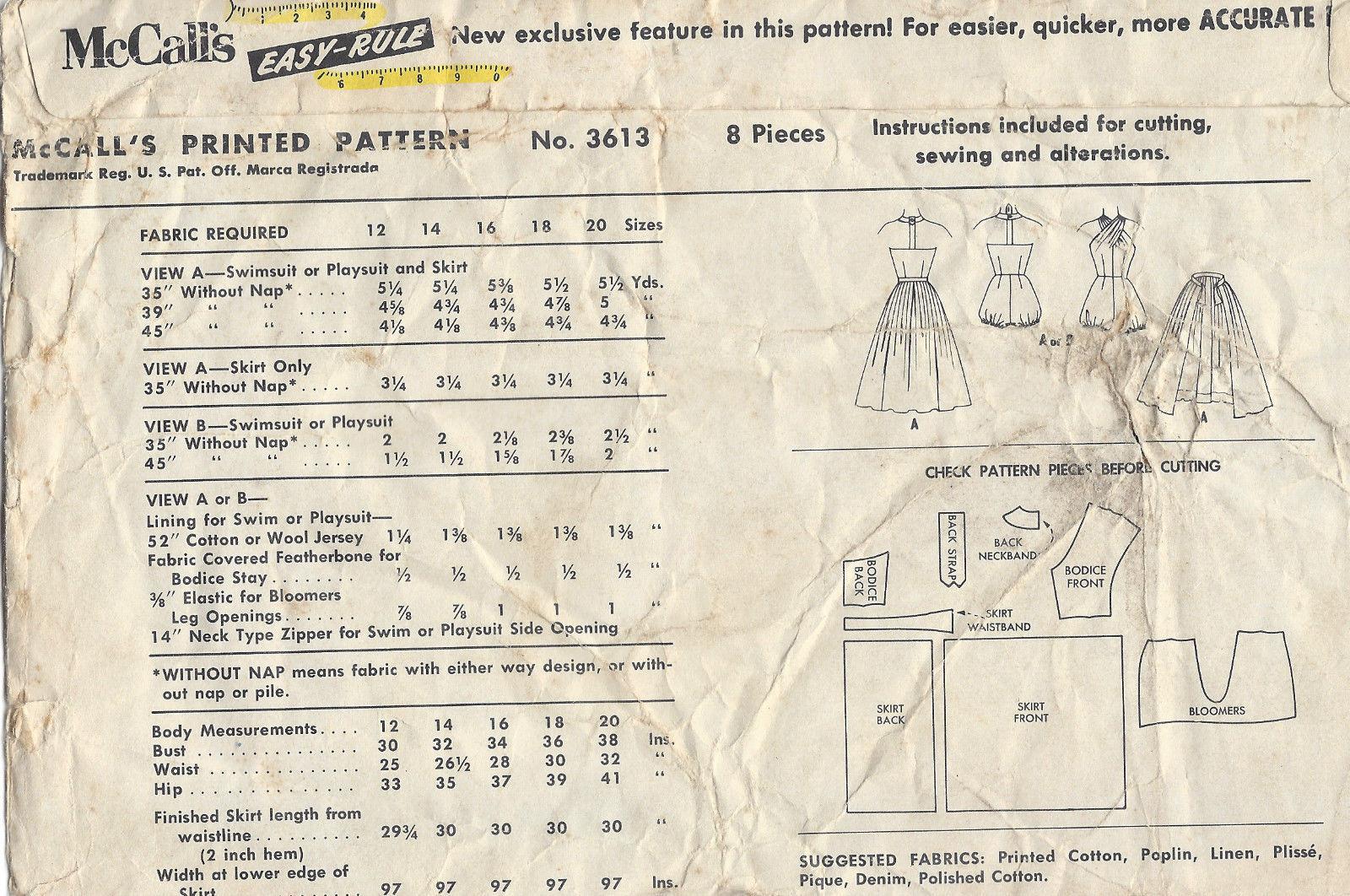 1956-Vintage-Sewing-Pattern-B30-HALTERNECK-BATHING-SUIT-SKIRT ...