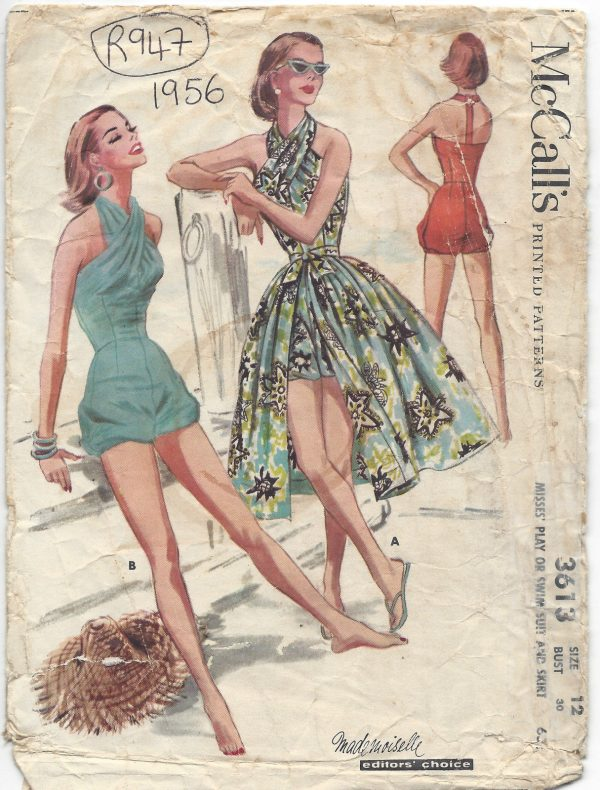 1956-Vintage-Sewing-Pattern-B30-HALTERNECK-BATHING-SUIT-SKIRT-PLAYSUIT-RR947-252629935138