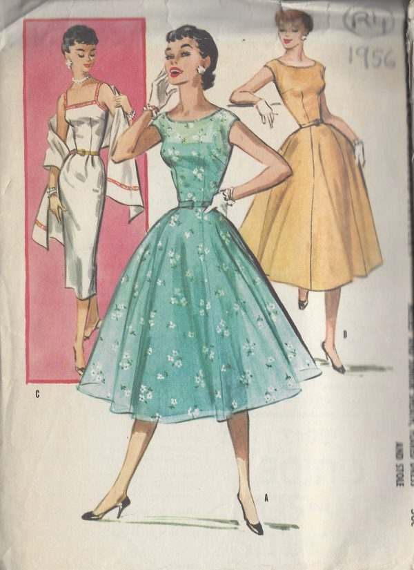 1956-Vintage-Sewing-Pattern-B34-DRESS-STOLE-R4-251172208958