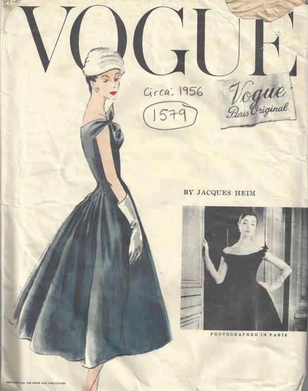1956-Vintage-VOGUE-Sewing-Pattern-B34-DRESS-PETTICOAT-1579-By-JACQUES-HEIM-252315483178