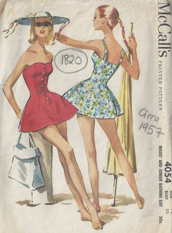 1957-Vintage-Sewing-Pattern-B32-SWIMSUIT-BATHING-SUIT-1820-262944114848