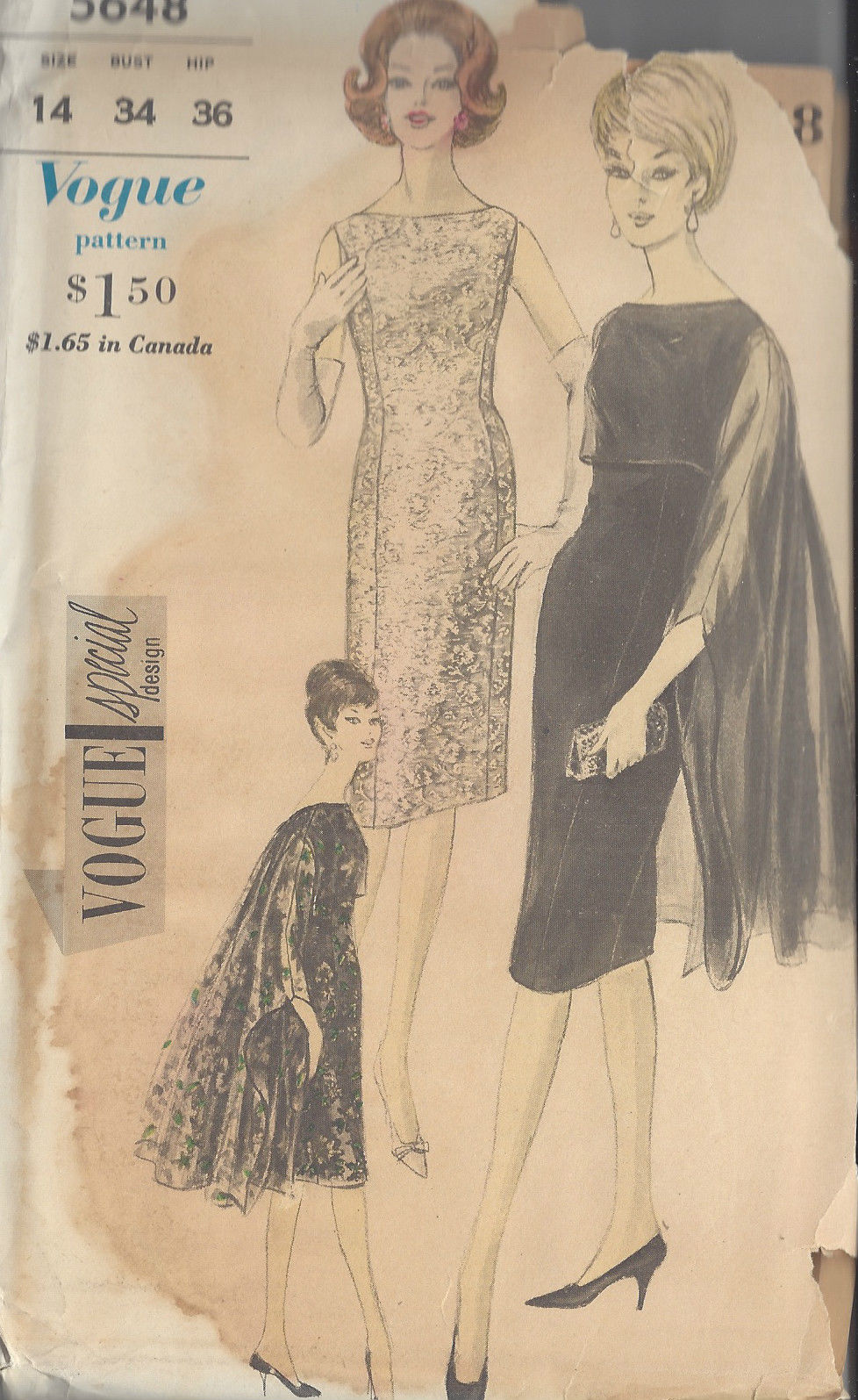 1960s Vintage Vogue Sewing Pattern Dress B34 Quot R599 The