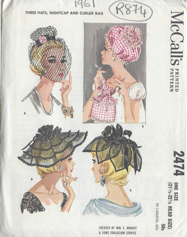 1961-Vintage-Sewing-Pattern-HAT-NIGHTCAP-CURLER-BAG-S21-12-22-12-R874-261167102658