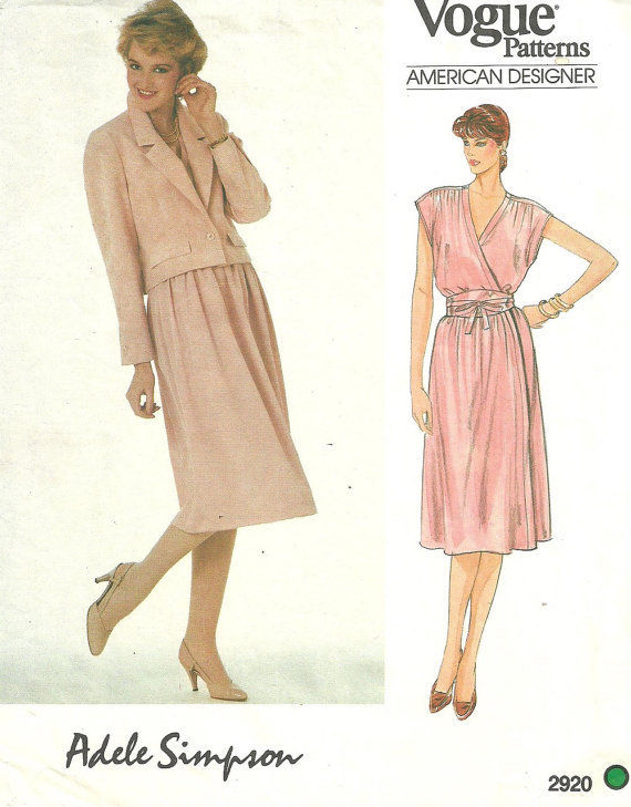 1980s-Vintage-VOGUE-Sewing-Pattern-B36-JACKET-DRESS-BELT-1708R-Adele-Simpson-262559813428