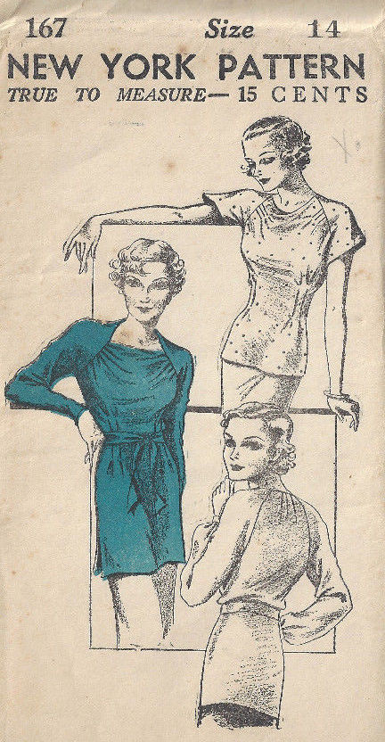 1930s-Vintage-Sewing-Pattern-B32-SLIP-ON-BLOUSE-1797-By-New-York-Pattren-262907600879