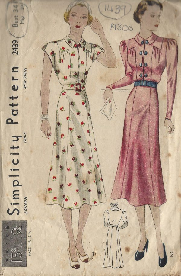 1930s Vintage Sewing Pattern B34 DRESS (1439) - The Vintage Pattern Shop