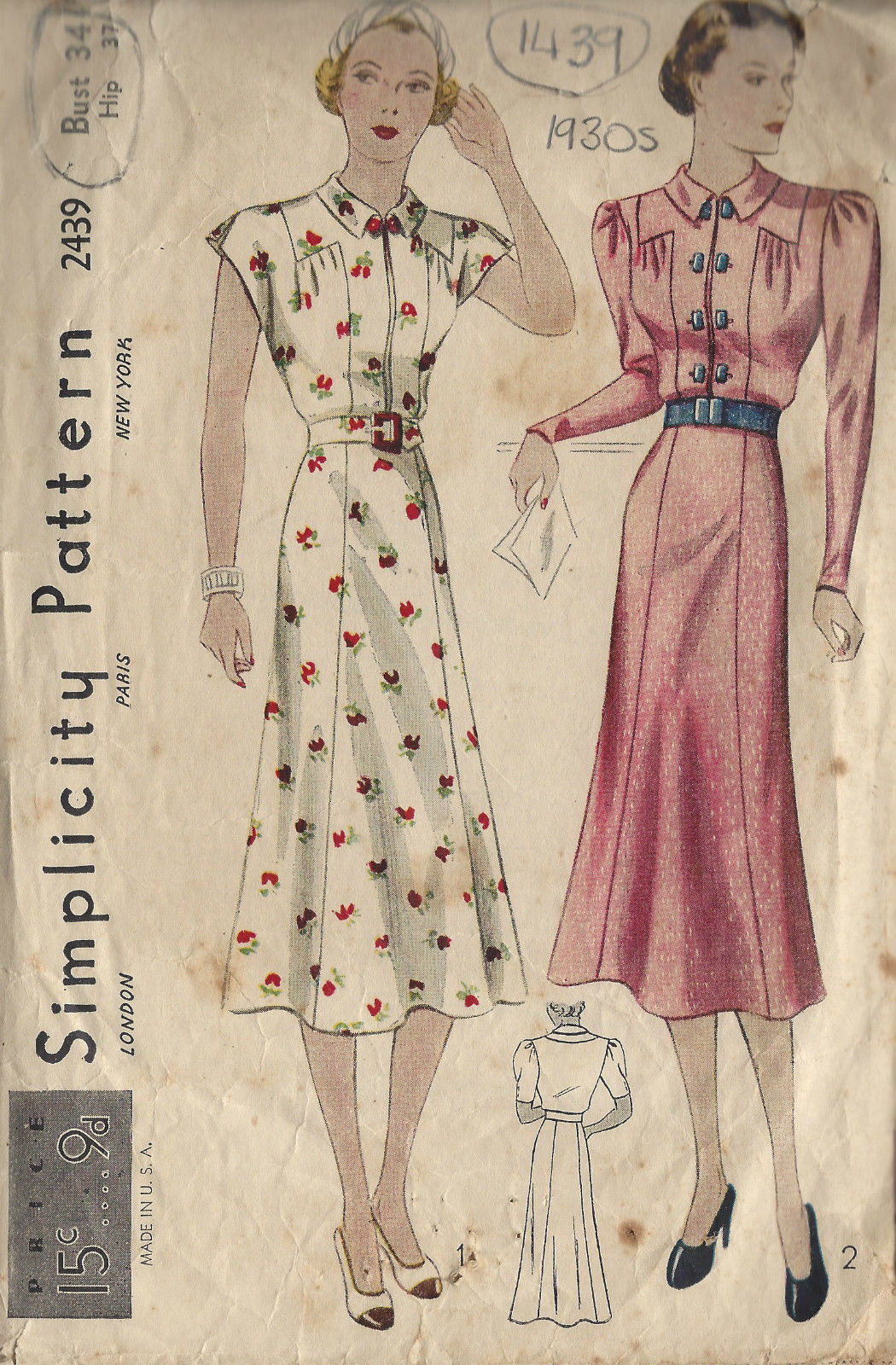 1930s Vintage Sewing Pattern B34 DRESS (1439) BY ...