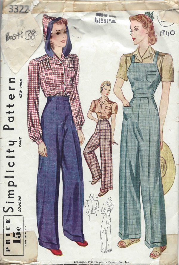1940-Vintage-Sewing-Pattern-B38-W32-BLOUSE-TROUSERS-OVERALLS-1232-261645682799