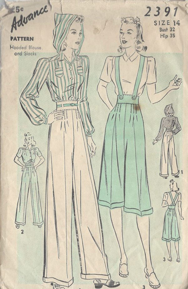 1940s-Vintage-Sewing-Pattern-B32-BLOUSE-PANTS-R763-251182747479