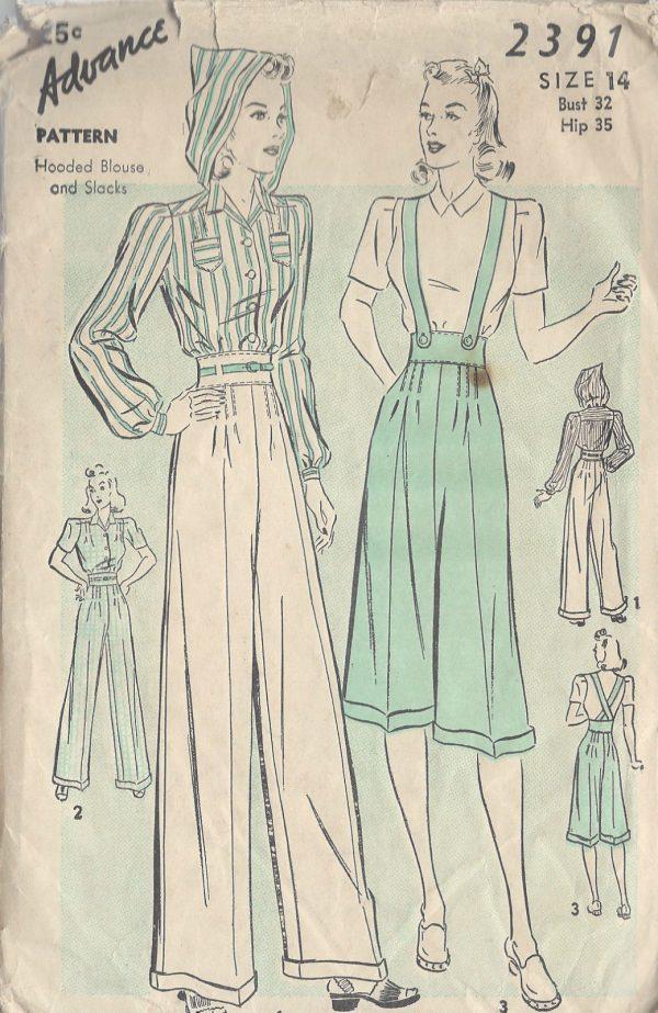 1940s-Vintage-Sewing-Pattern-B32-BLOUSE-PANTS-R763-251182747479