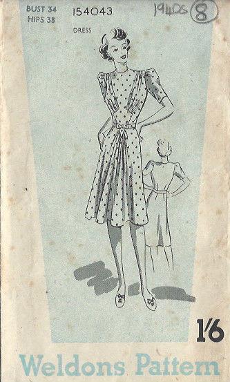 1940s-Vintage-Sewing-Pattern-DRESS-B34-8-251141622139