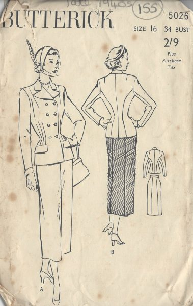 1940s-Vintage-Sewing-Pattern-SUIT-SKIRT-JACKET-B34-155-251173784909