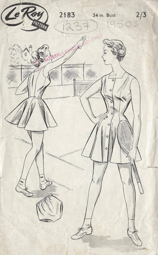 1950s-Vintage-Sewing-Pattern-B34-TENNIS-DRESS-1237-261457454879