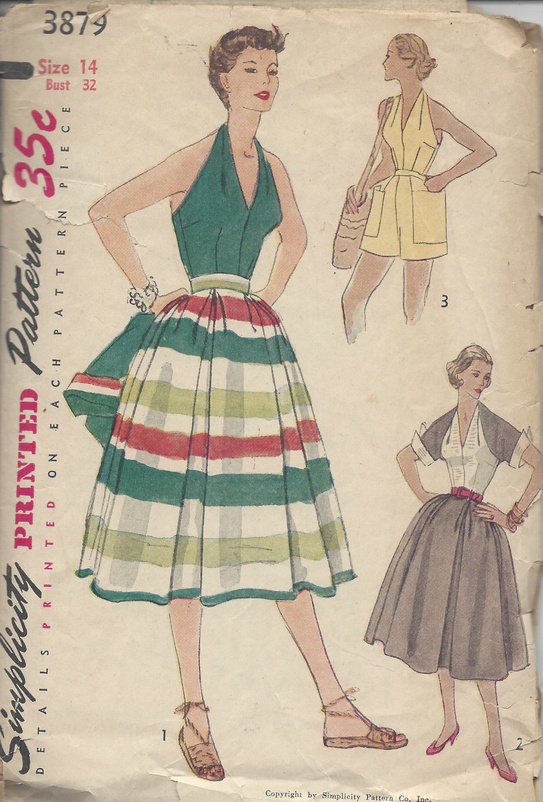 1952 Vintage Sewing Pattern B32 SKIRT SHORTS HALTER TOP & JACKET ...