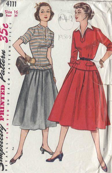 1952-Vintage-Sewing-Pattern-B34-TWO-PIECE-DRESS-R49-251172244729