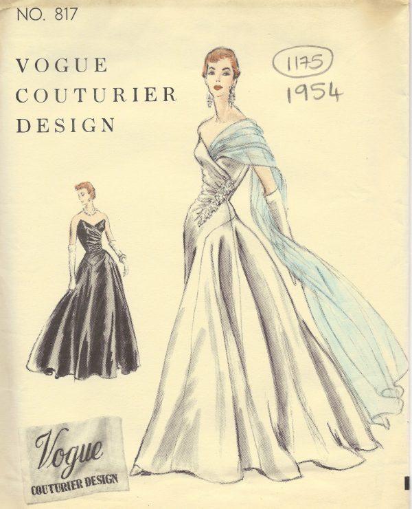 von Jacques Heim 1290 1955 Vintage Vogue-Schnittmuster B34 Kleid Abendkleid