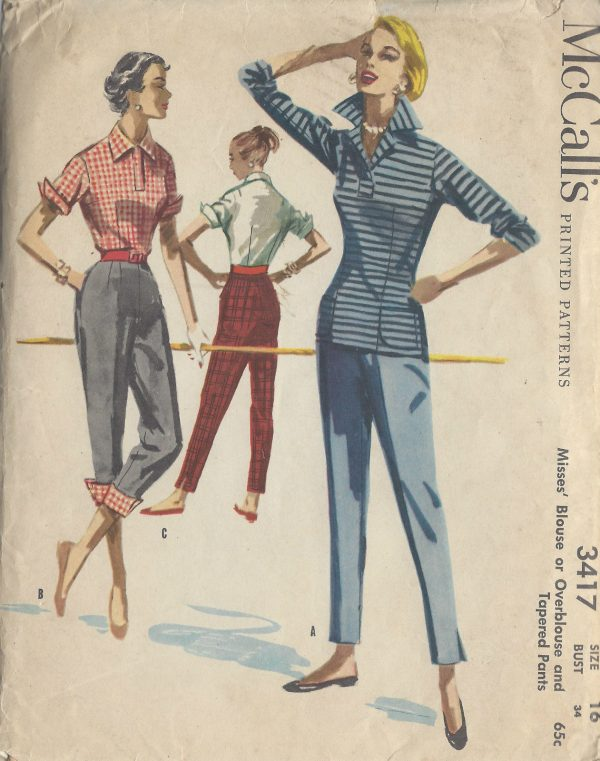 1955-Vintage-Sewing-Pattern-B34-W28-BLOUSE-OVERBLOUSE-PANTS-1005-251281166649
