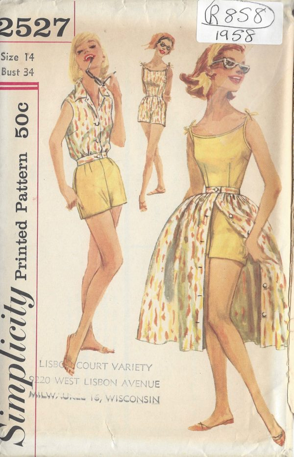 1958-Vintage-Sewing-Pattern-B34-PLAYSUIT-SKIRT-BLOUSED-JACKET-R858-252042023579