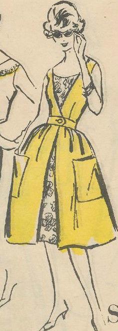 1960-Vintage-VOGUE-Sewing-Pattern-B36-REDINGOTE-DRESS-1654R-262447981109-3
