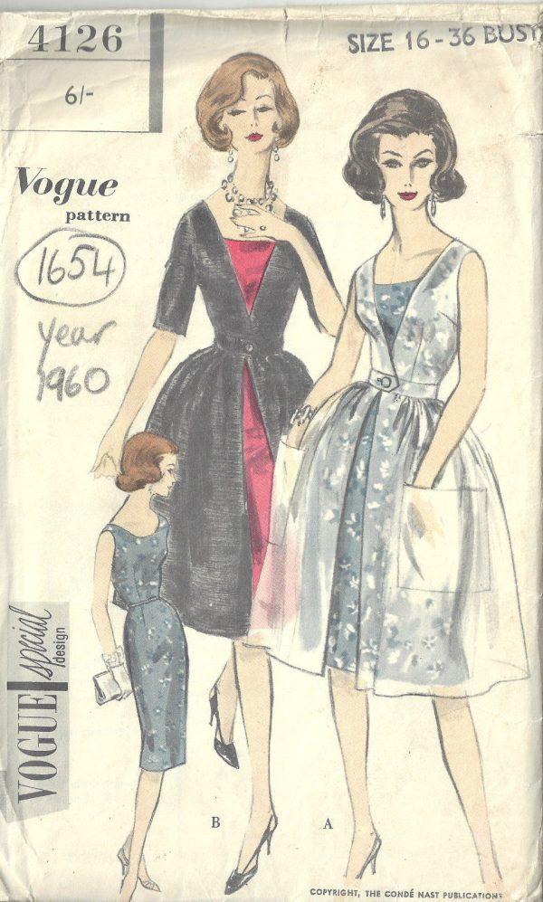 1960-Vintage-VOGUE-Sewing-Pattern-B36-REDINGOTE-DRESS-1654R-262447981109