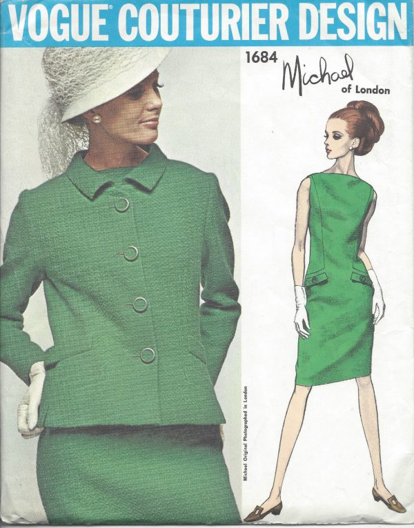 1960s-Vintage-VOGUE-Sewing-Pattern-B34-DRESS-JACKET-1030-By-Michel-of-London-251292447759