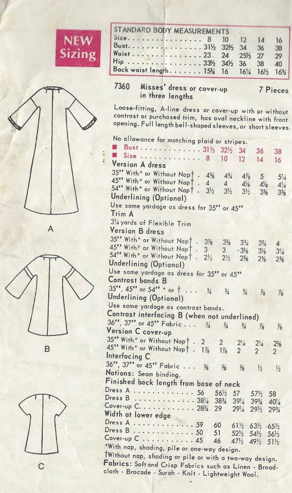 1968 Vintage VOGUE Sewing Pattern B38 DRESS CAFTAN COVER-UP (1360 ...